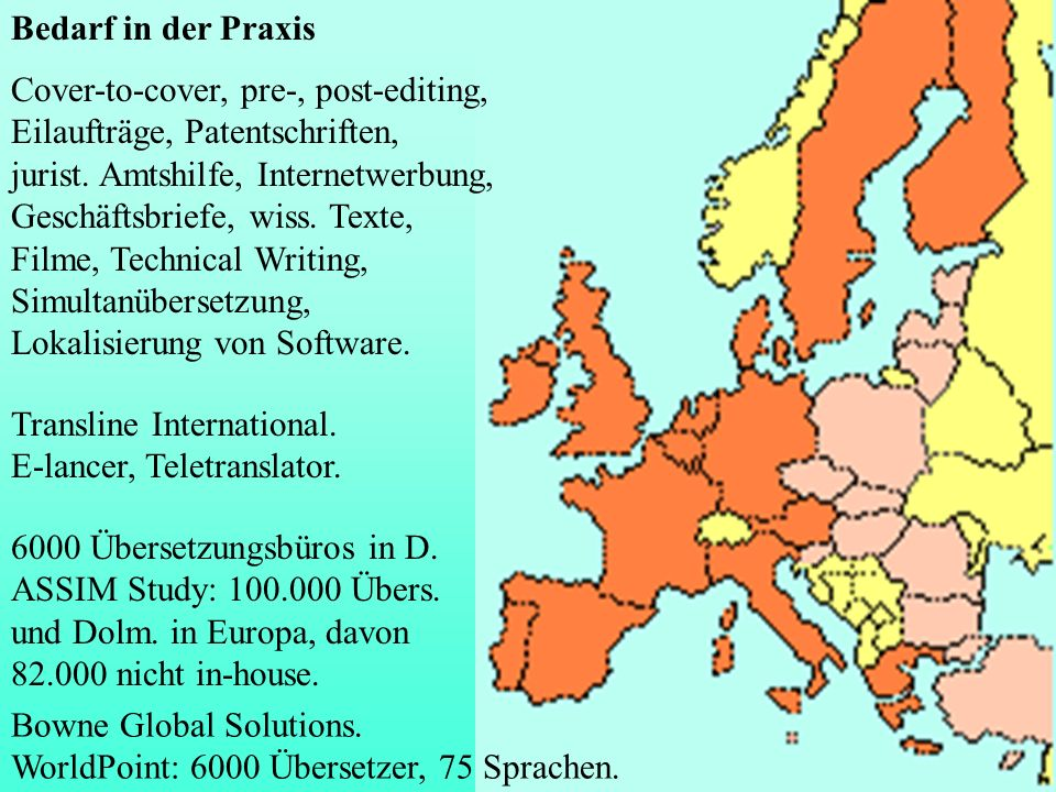 Bedarf in der Praxis Cover-to-cover, pre-, post-editing, Eilaufträge, Patentschriften,