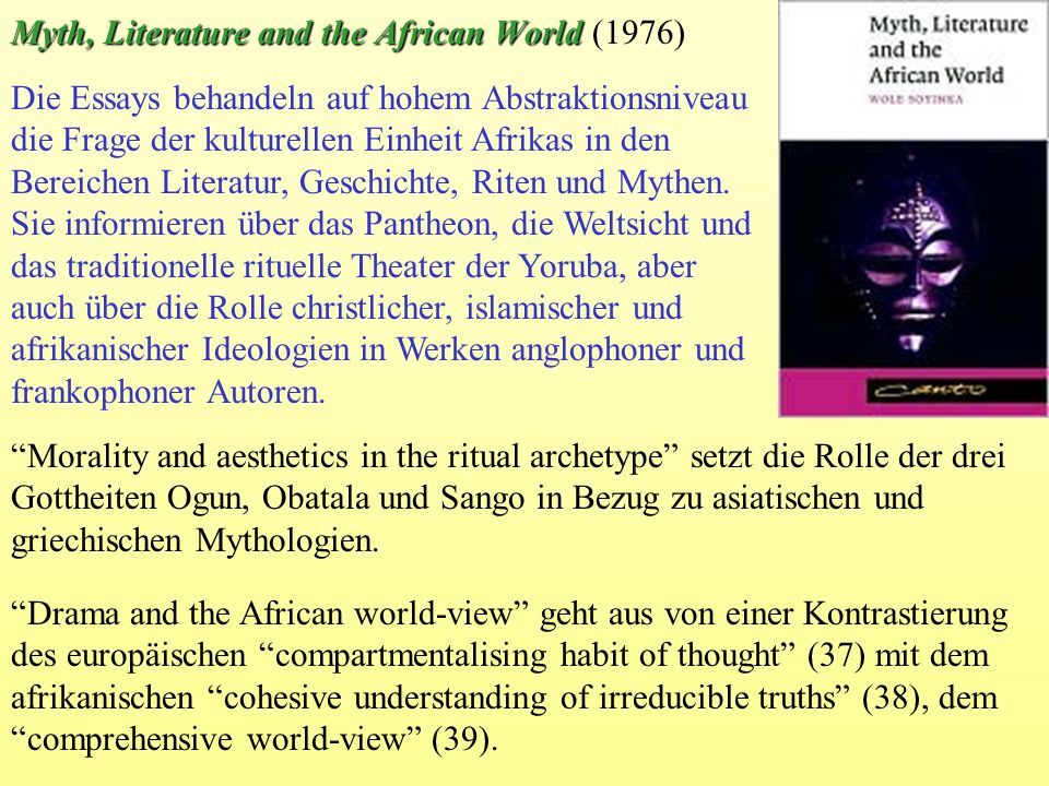 Myth, Literature and the African World (1976)