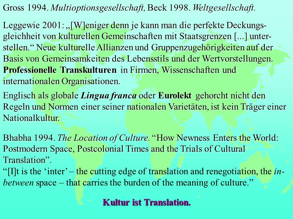 Kultur ist Translation.