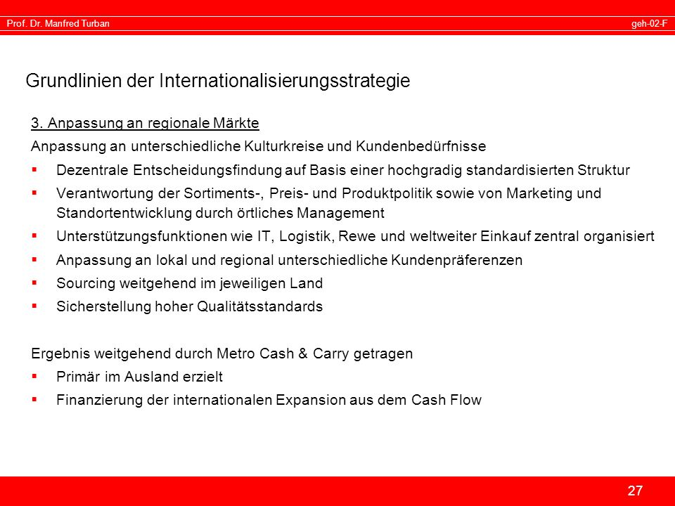 Grundlinien der Internationalisierungsstrategie