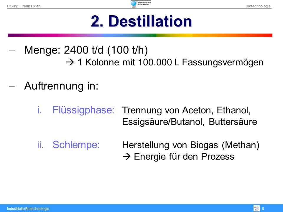 2. Destillation Menge: 2400 t/d (100 t/h) Auftrennung in: