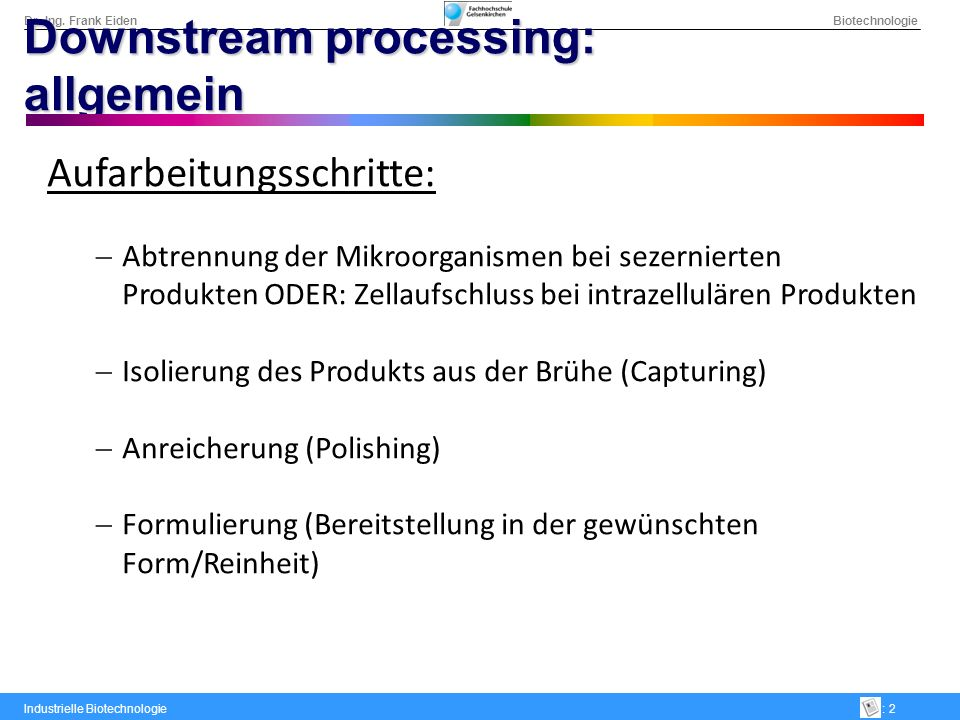 Downstream processing: allgemein