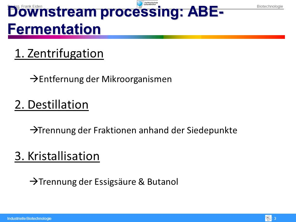 Downstream processing: ABE-Fermentation