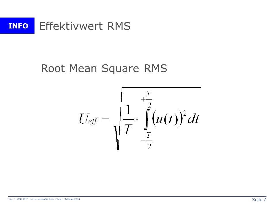 Effektivwert RMS Root Mean Square RMS