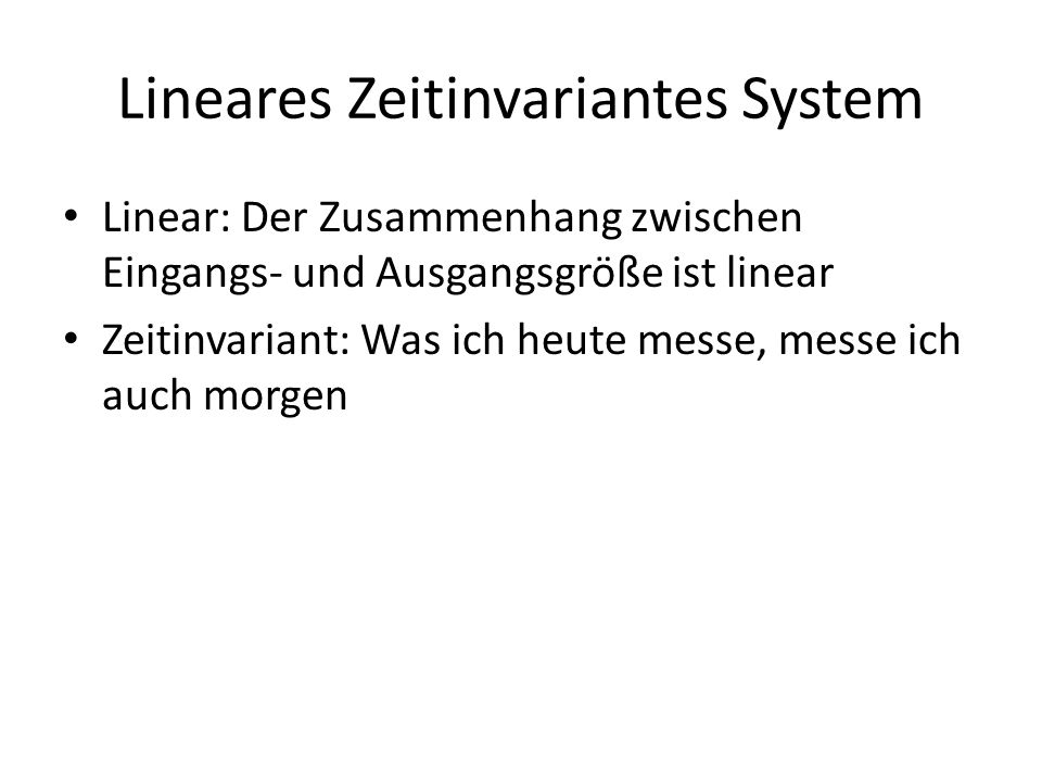 Lineares Zeitinvariantes System