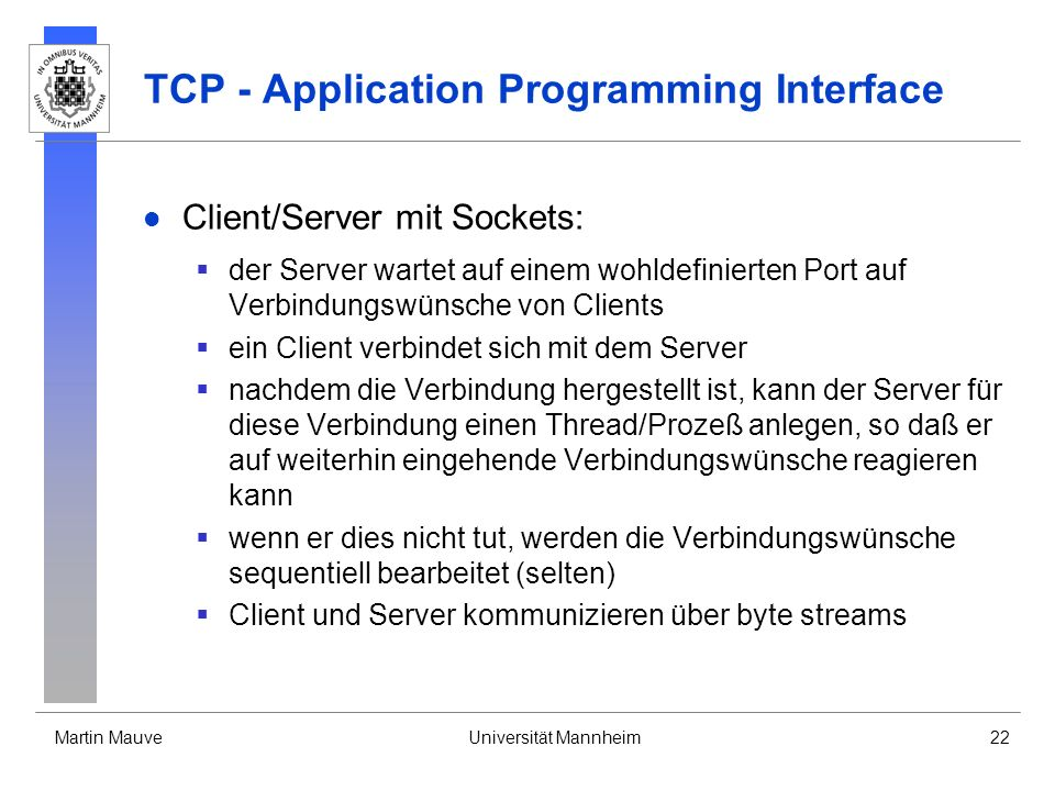 TCP - Application Programming Interface