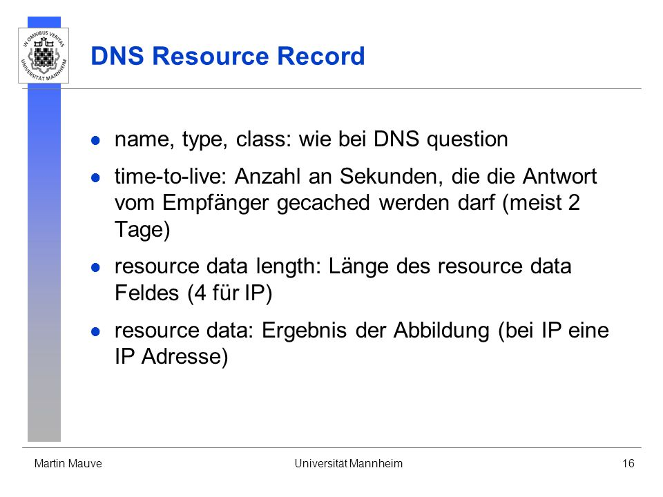 DNS Resource Record name, type, class: wie bei DNS question