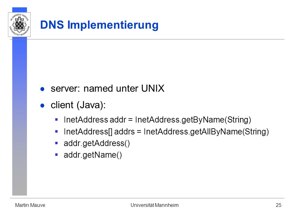 DNS Implementierung server: named unter UNIX client (Java):