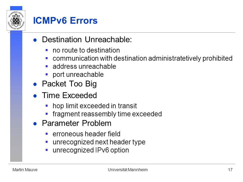 ICMPv6 Errors Destination Unreachable: Packet Too Big Time Exceeded