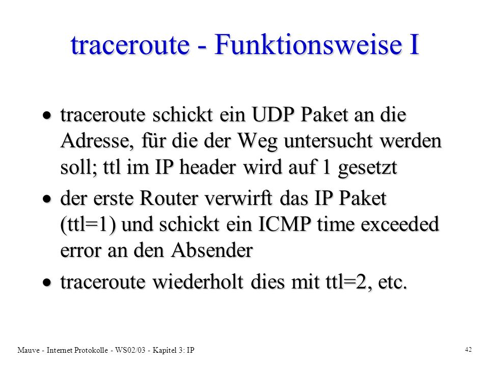 traceroute - Funktionsweise I