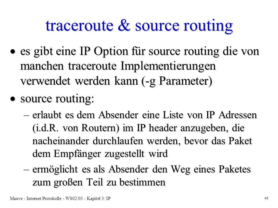 traceroute & source routing