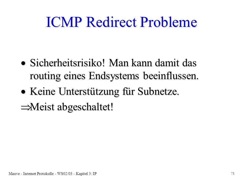 ICMP Redirect Probleme