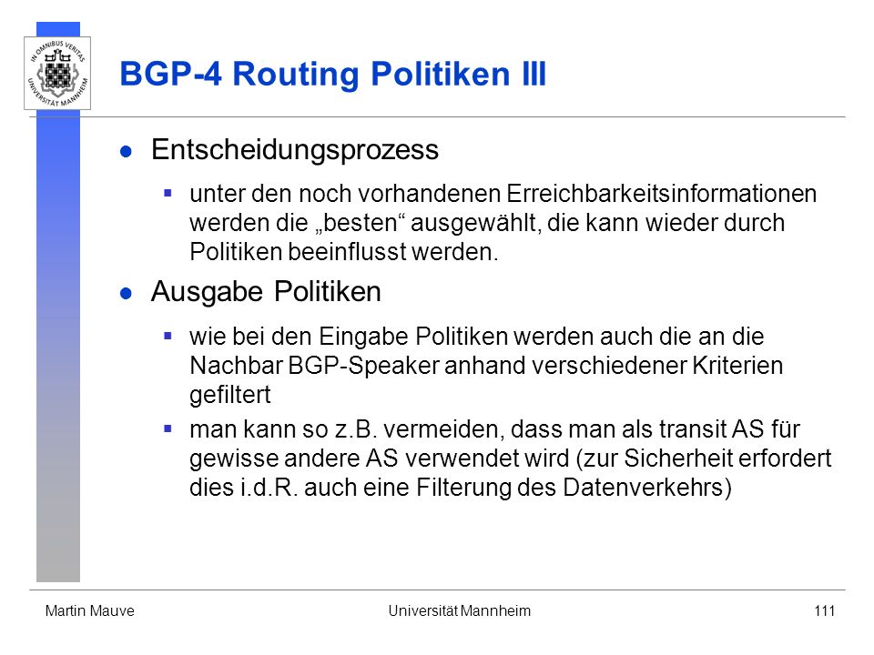 BGP-4 Routing Politiken III