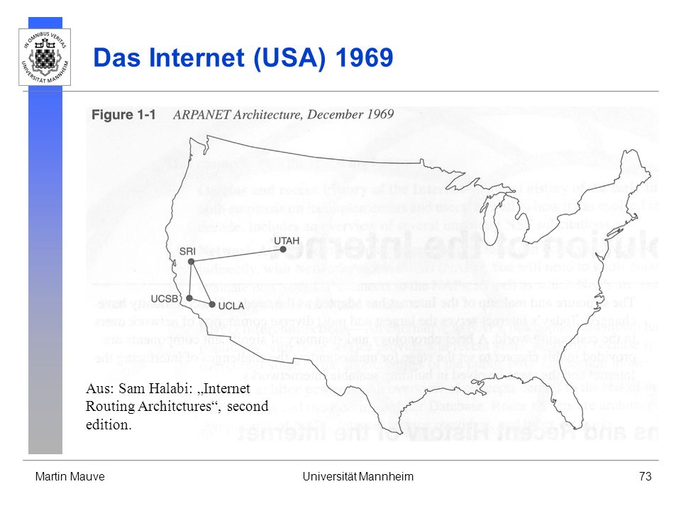 "Das Internet (USA) 1969 Aus: Sam Halabi: ""Internet Routing Architctures , second edition."
