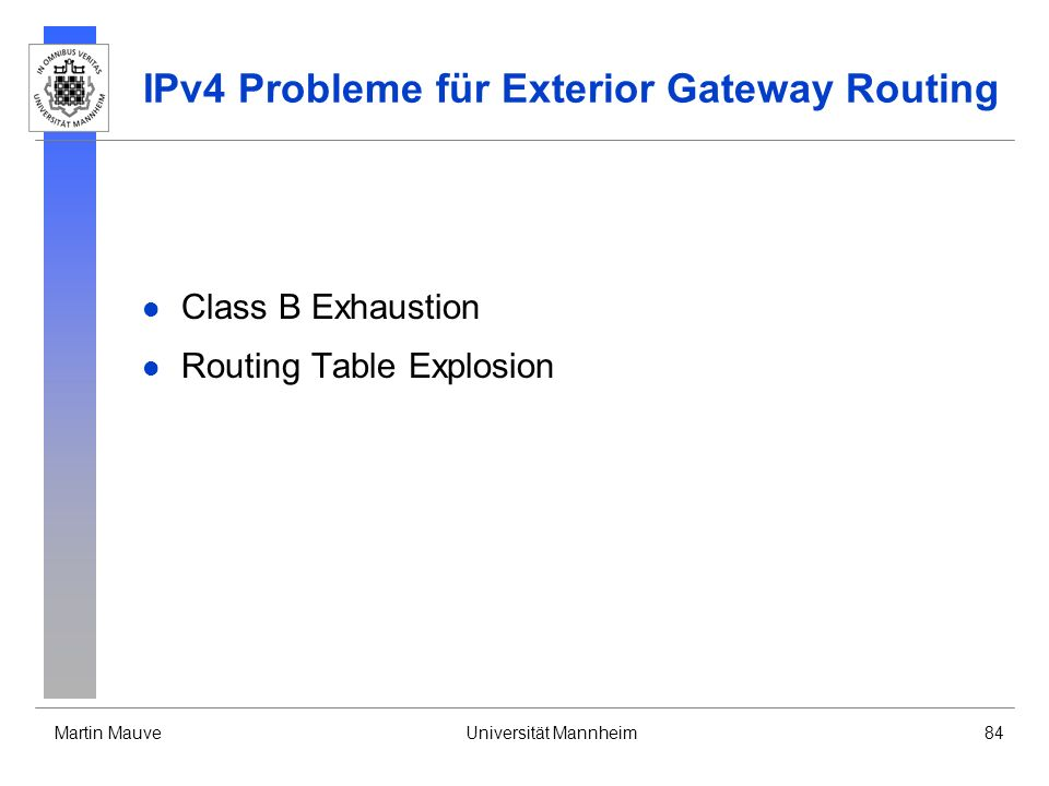 IPv4 Probleme für Exterior Gateway Routing