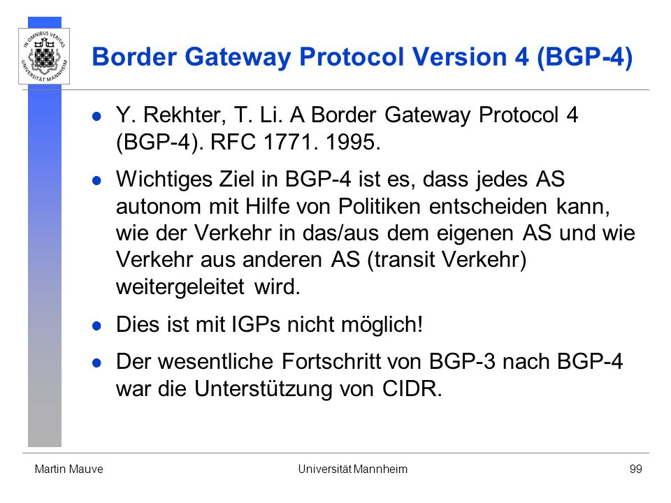 Border Gateway Protocol Version 4 (BGP-4)