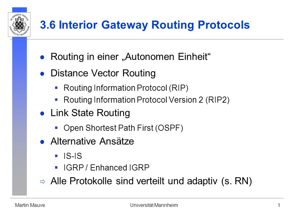 3.6 Interior Gateway Routing Protocols