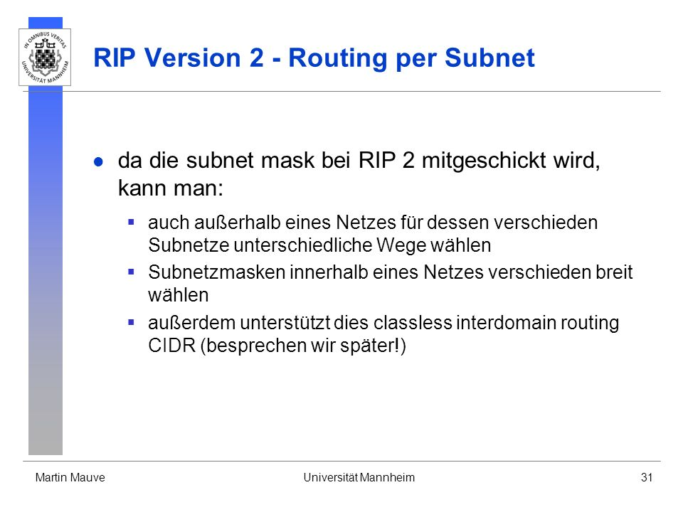 RIP Version 2 - Routing per Subnet