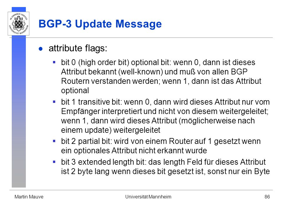 BGP-3 Update Message attribute flags: