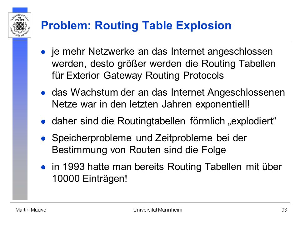 Problem: Routing Table Explosion