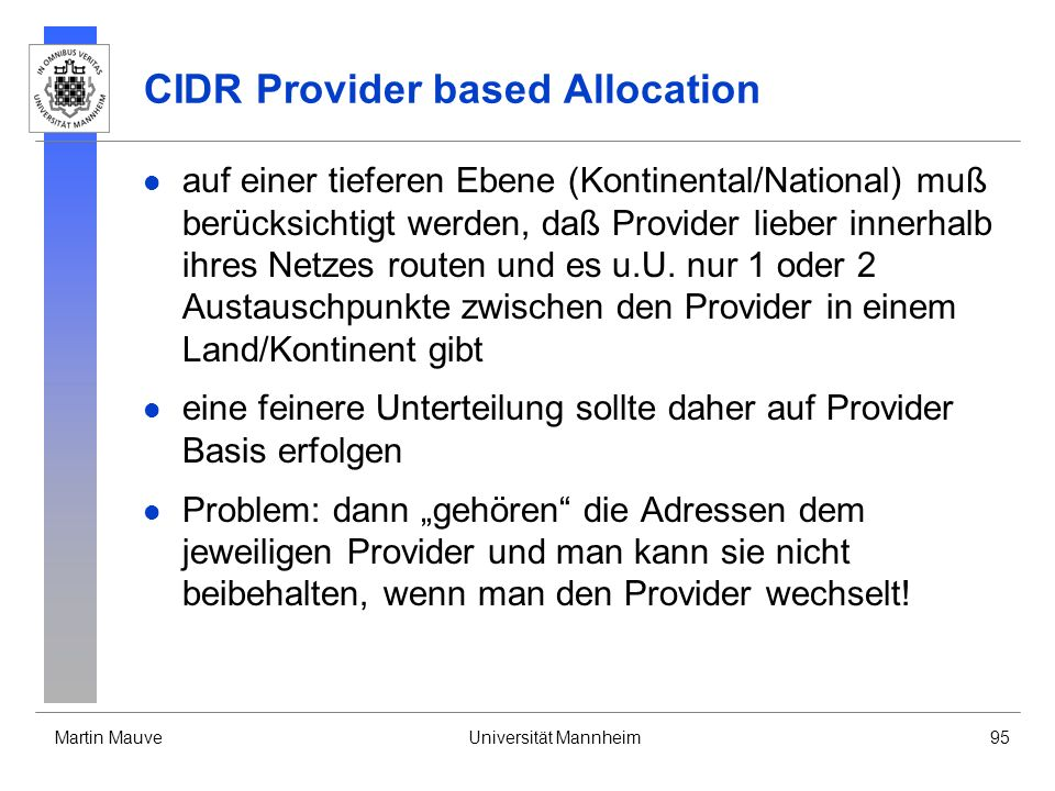 CIDR Provider based Allocation