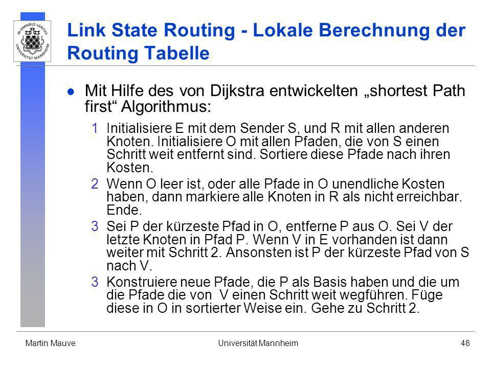 Link State Routing - Lokale Berechnung der Routing Tabelle
