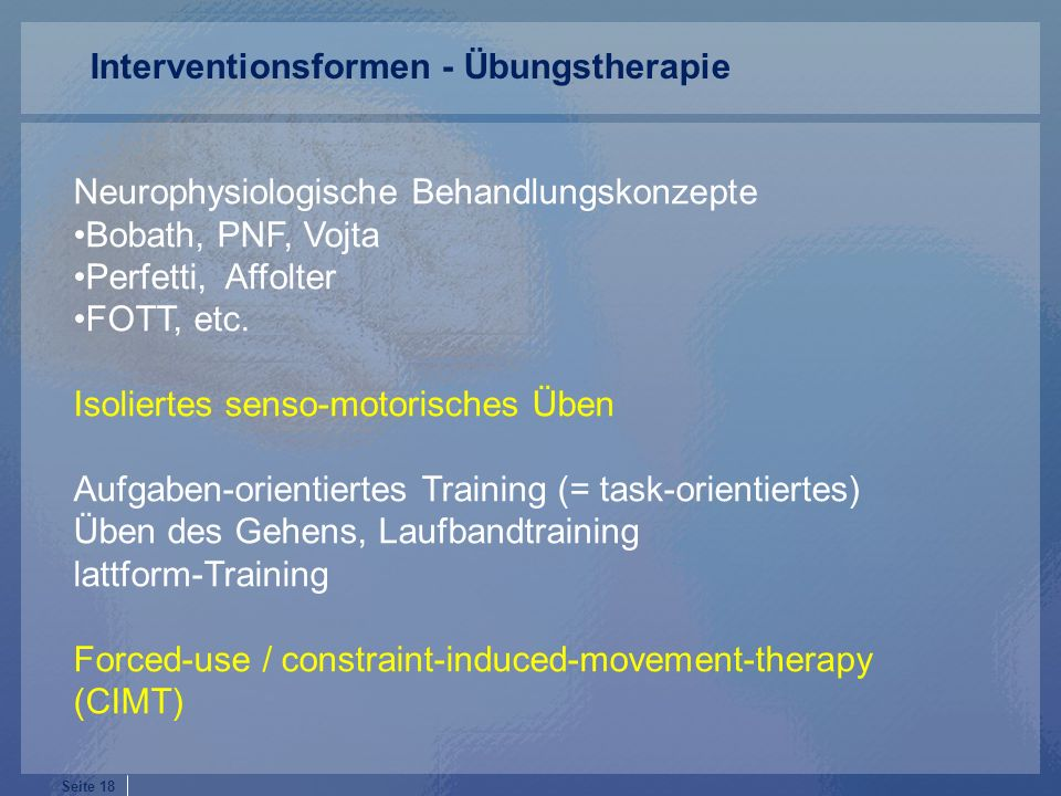 Interventionsformen - Übungstherapie