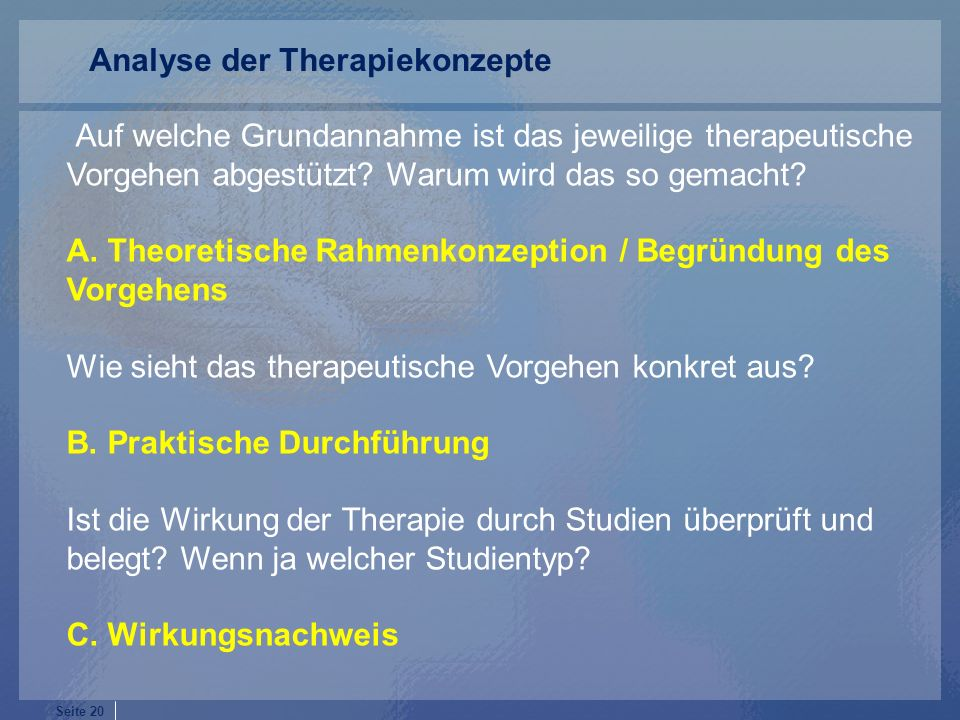 Analyse der Therapiekonzepte