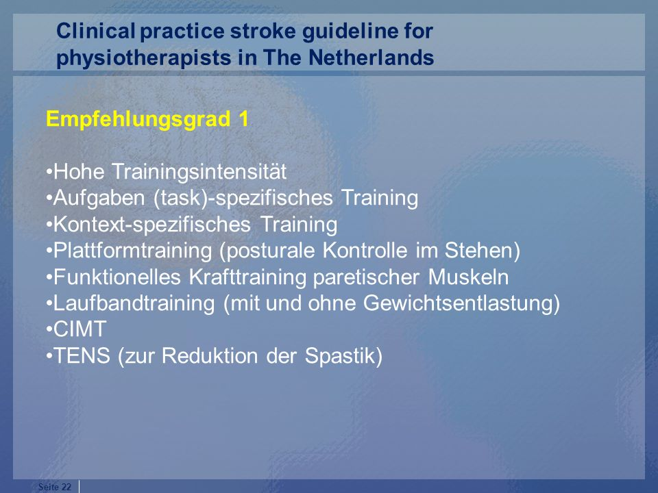 Clinical practice stroke guideline for physiotherapists in The Netherlands