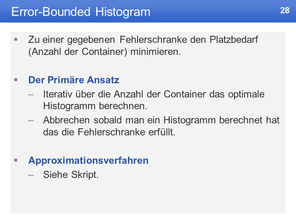 Error-Bounded Histogram