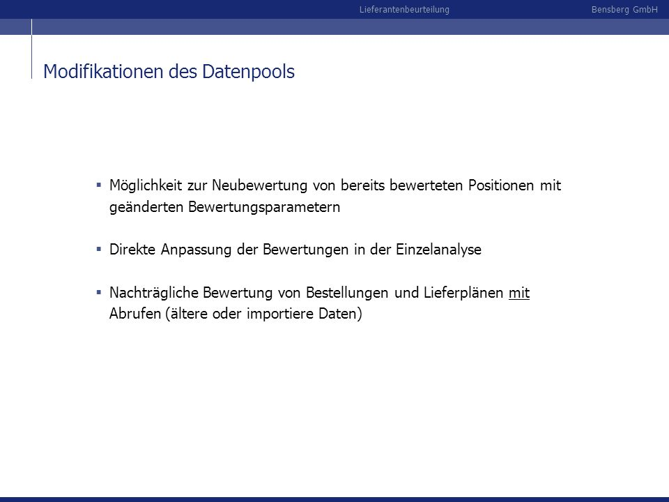 Modifikationen des Datenpools
