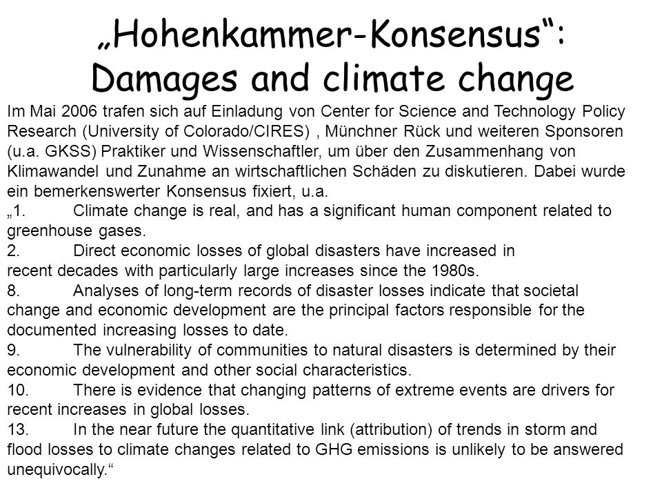 """Hohenkammer-Konsensus : Damages and climate change"
