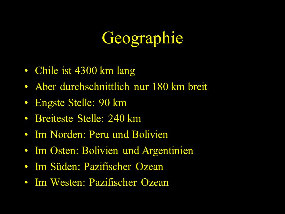 Geographie Chile ist 4300 km lang
