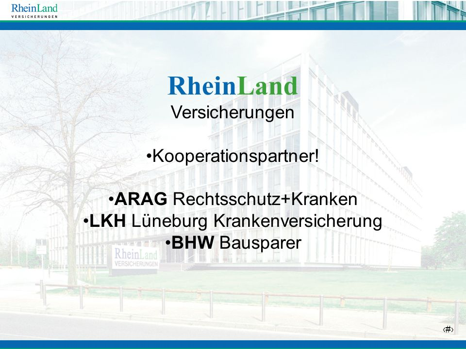RheinLand Versicherungen Kooperationspartner!