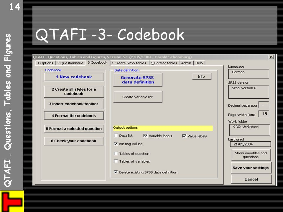 QTAFI . Questions, Tables and Figures