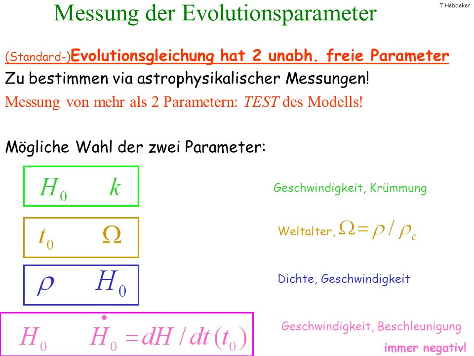 Messung der Evolutionsparameter