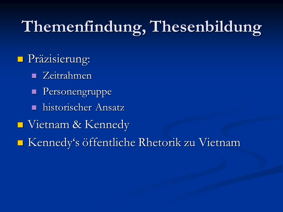 Themenfindung, Thesenbildung