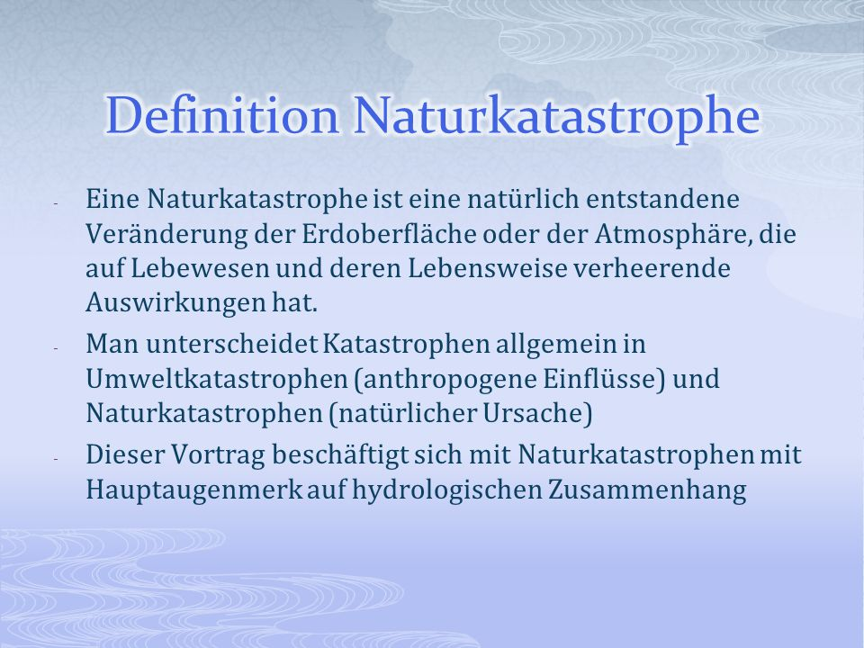 Definition Naturkatastrophe