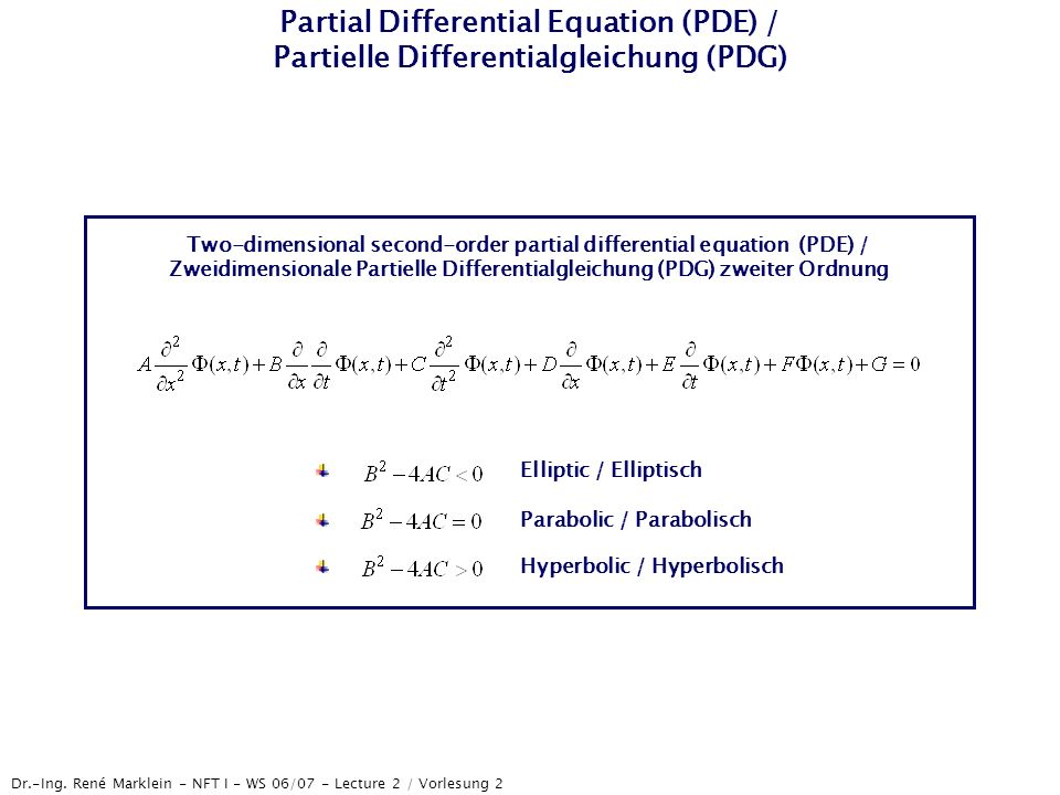 Partial Differential Equation (PDE) / Partielle Differentialgleichung (PDG)
