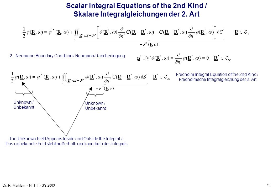 Scalar Integral Equations of the 2nd Kind / Skalare Integralgleichungen der 2. Art