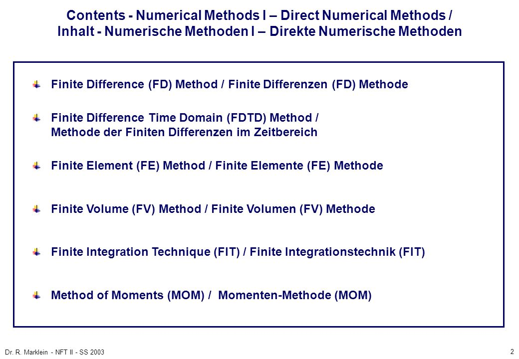 Contents - Numerical Methods I – Direct Numerical Methods / Inhalt - Numerische Methoden I – Direkte Numerische Methoden