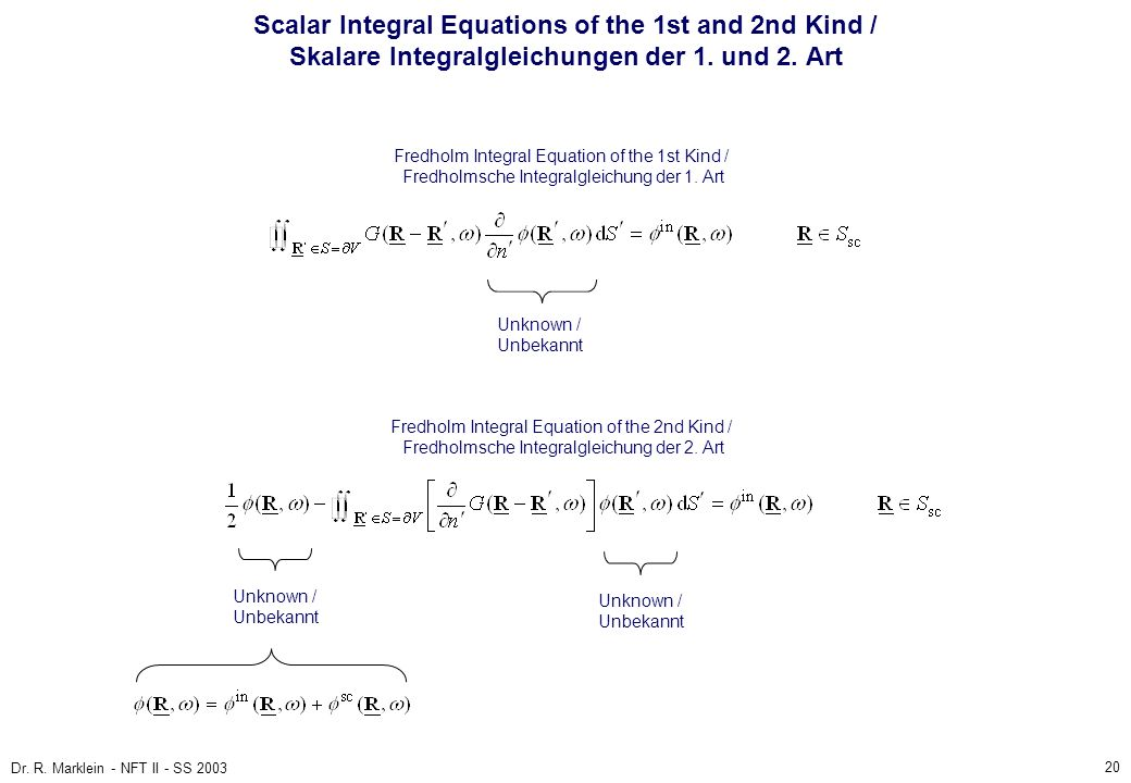 Scalar Integral Equations of the 1st and 2nd Kind / Skalare Integralgleichungen der 1. und 2. Art