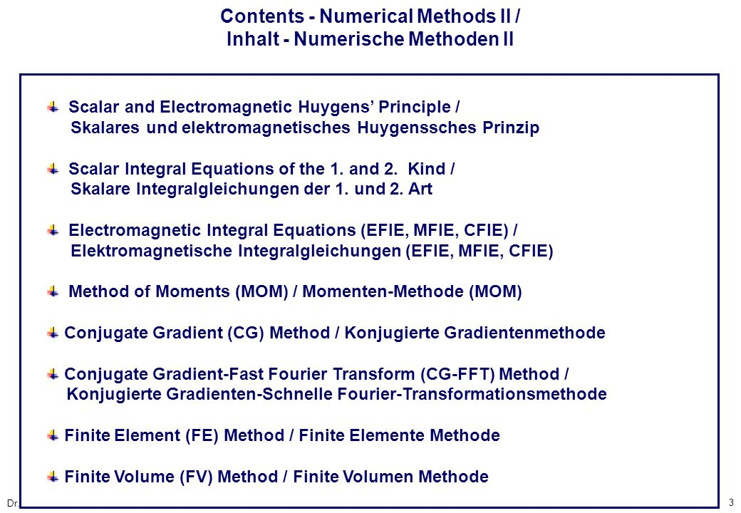 Contents - Numerical Methods II / Inhalt - Numerische Methoden II