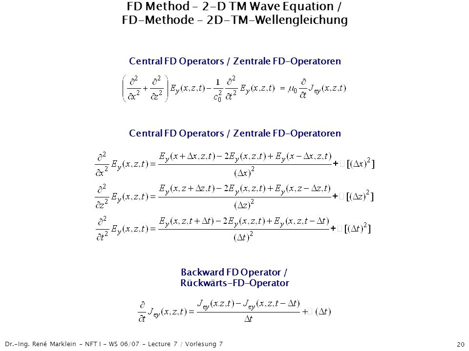 FD Method – 2-D TM Wave Equation / FD-Methode – 2D-TM-Wellengleichung