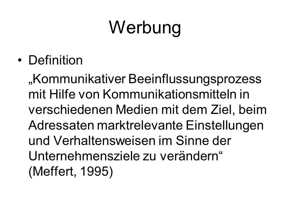 Werbung Definition.