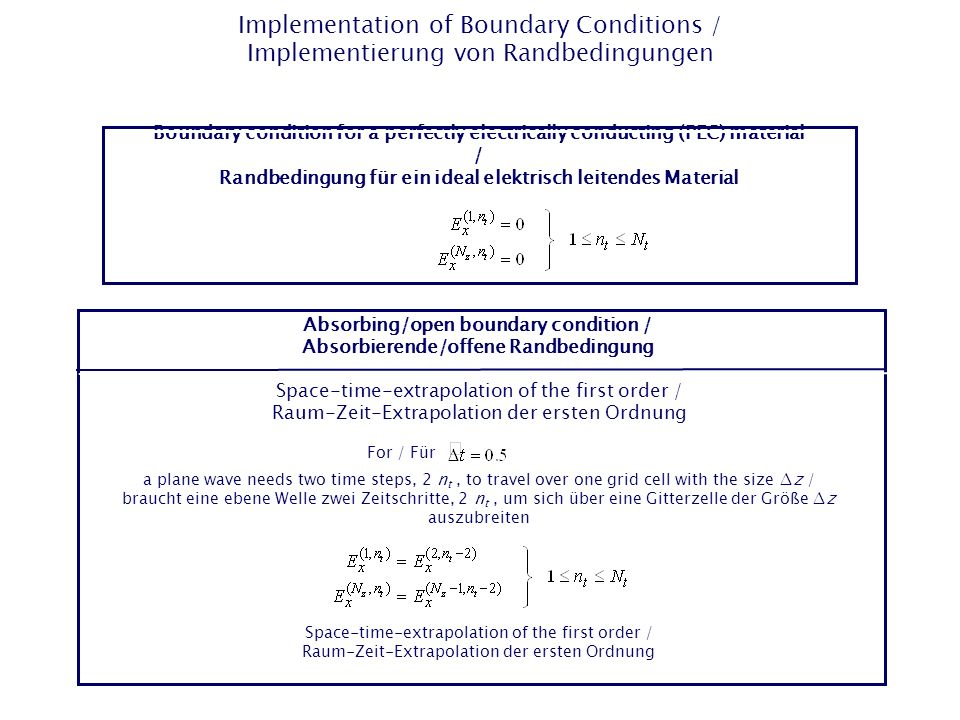 Implementation of Boundary Conditions / Implementierung von Randbedingungen