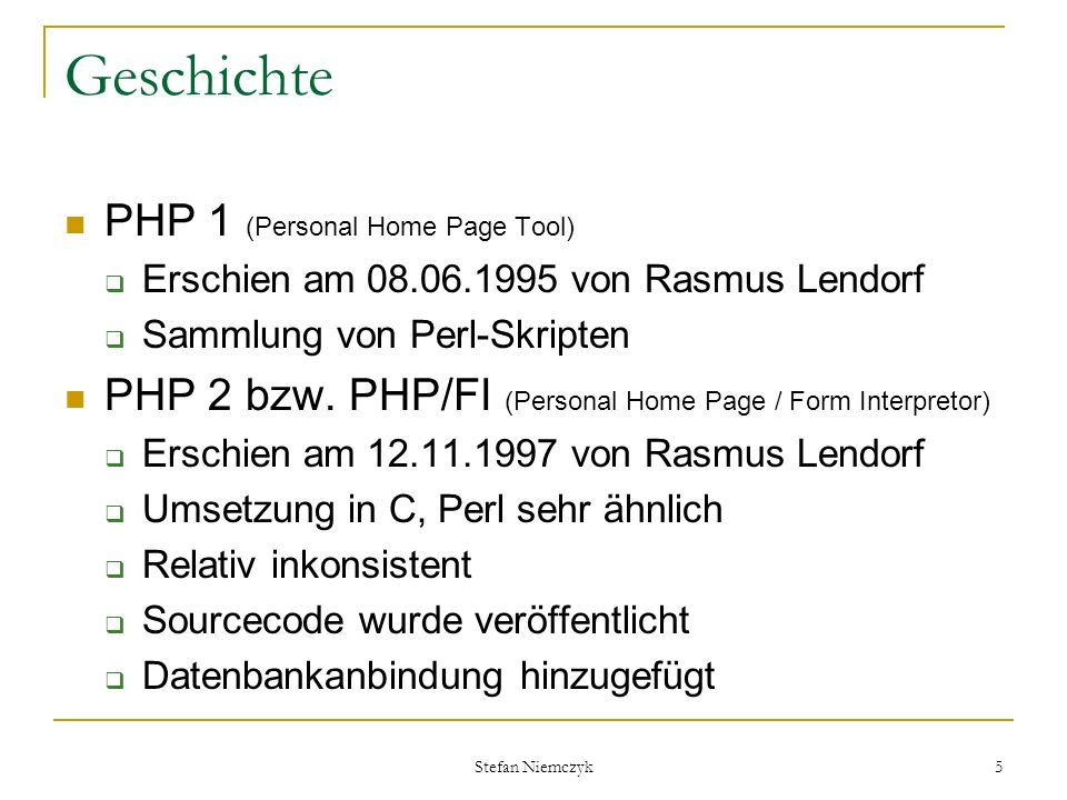 Geschichte PHP 1 (Personal Home Page Tool)