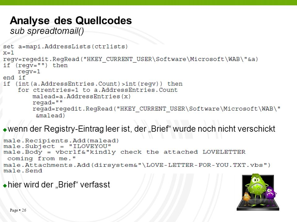 Analyse des Quellcodes sub spreadtomail()