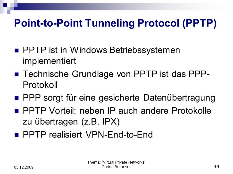 Point-to-Point Tunneling Protocol (PPTP)