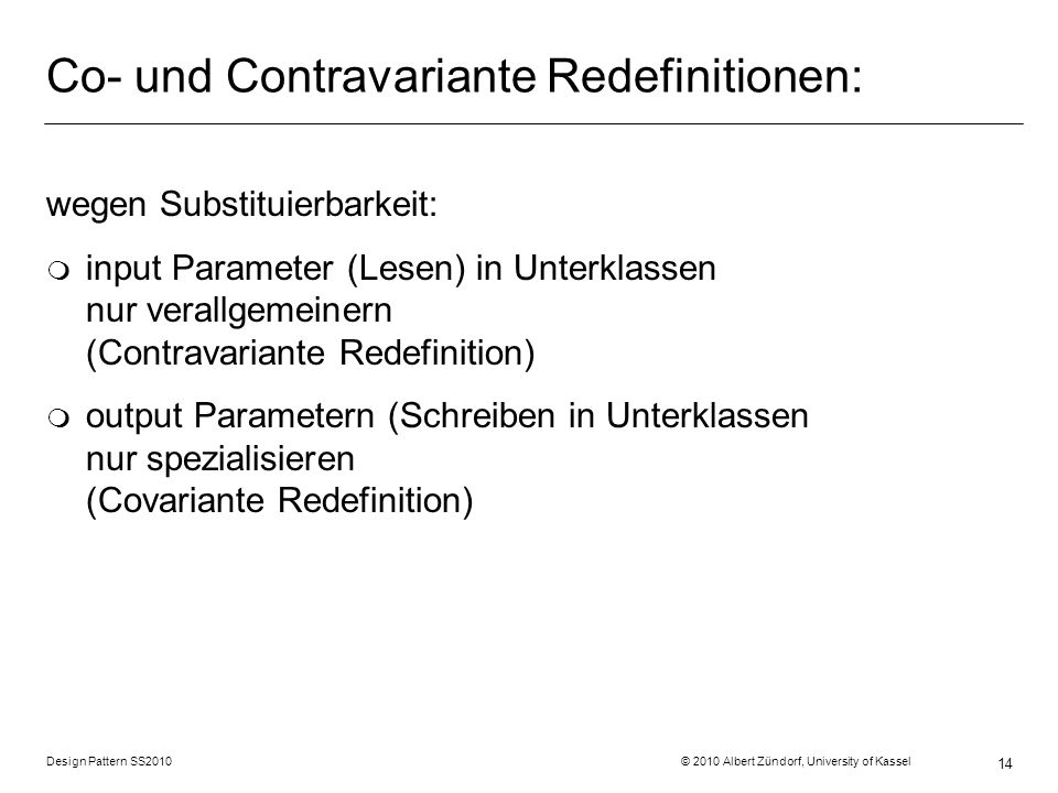 Co- und Contravariante Redefinitionen: